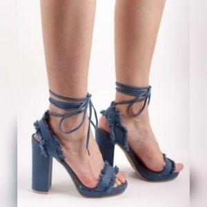 Shoes - HOST PICK 4/16 Ladies Dark Denim Lace-up Sandal